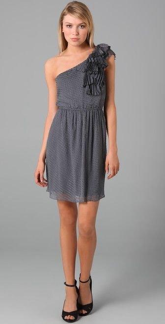 New REBECCA TAYLOR 6 gray 1 shoulder ruffled dress dot Silk chiffon party mini