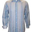 NWT NAT NAST long sleeve shirt M striped pool blue $185 contrast cuffs cotton