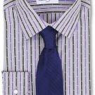 NWT ROBERT GRAHAM dress shirt 17 striped purple cotton woven L/S