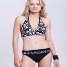 NWT GOTTEX swimsuit 10 bikini black white ruffled halter 2PC Israel 2PC designer