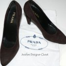 NEW PRADA heels shoes pumps 37.5 7 designer suede leather with dust bags brown