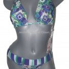 NWT PILYQ bikini swimsuit L D CUP green purple halter w/ banded bottom 2PC set