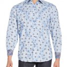 NWT ROBERT GRAHAM shirt S blue paisley contrast cuffs designer $248 classic fit