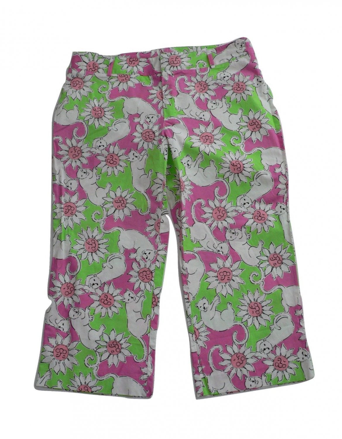 NWT LILLY PULITZER capris pants 6 cropped $160 Hibiscus pink,lime,daisies