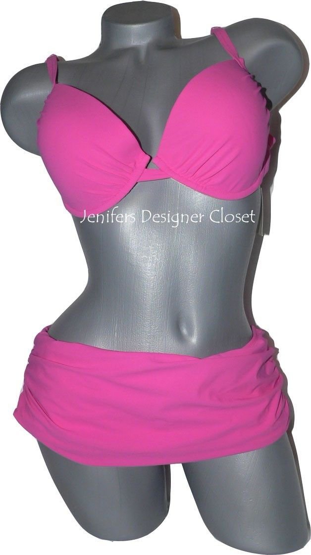 NWT GOTTEX swimsuit bikini 12 molded cups passion pink underwire sexy skirted