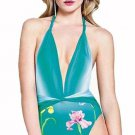 NWT GOTTEX 8 plunging sexy aqua swimsuit backless halter stunning floral draped