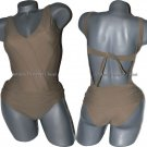 NWT ROSA CHA S taupe tan ruched swimsuit Brazil Sexy 1pc  tie back v-neck