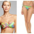 NWT NANETTE LEPORE XS bikini swimsuit multi colors stripes sexy bandeau string
