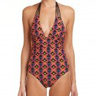 NWT TRINA TURK halter 12 swimsuit 1 piece orange bright colors neon backless HOT