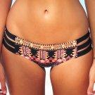 NWT SEAFOLLY  6 US Spice Temple hipster bikini bottom orange black blue strappy