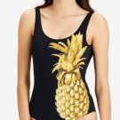 NWT ONIA Kelly L golden pineapple swimsuit one piece black $195 tank maillot