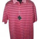 NWT BOBBY JONES L golf casual polo shirt striped hot coral men's short sleeve