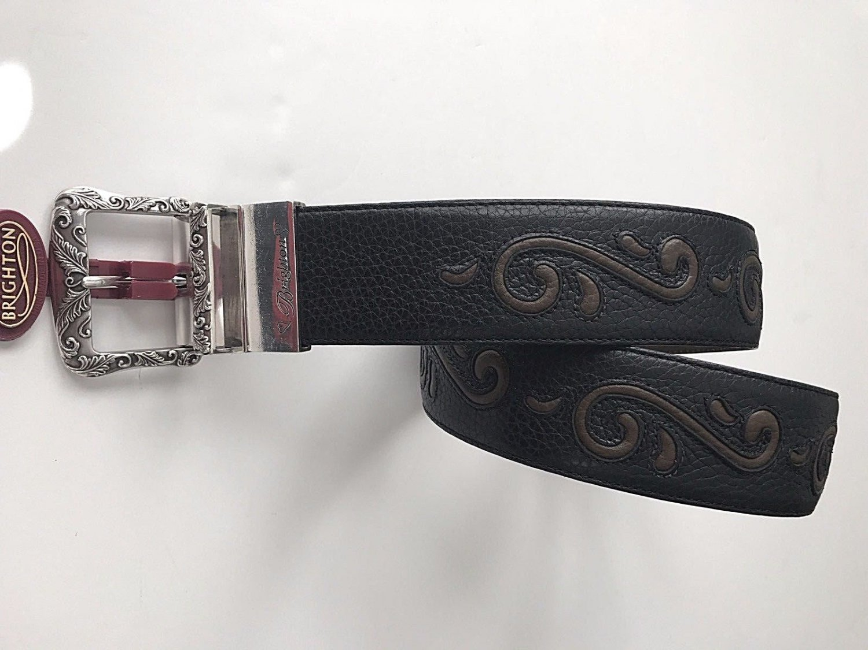 NWT BRIGHTON M/L 32 silver black brown pebble Leather belt women's wide