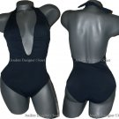NWT ANIKA Brazil deep plunging backless swimsuit XS halter 0 2 4 1PC black