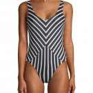 NWT TORI PRAVER S swimsuit black white striped 1 piece cheeky maillot