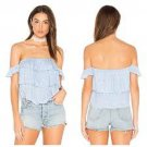 NWT MISA Los Angeles LG Kaia off shoulder crop top shirt ruffled tiered blue