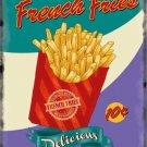 French Fries chips, 50's Dinner Kitchen Cafe Food Retro, Medium Metal/Tin Sign