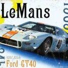 Le Mans 24h 1969 Ford GT40 Gulf Race Car Retro Motorsport, Medium Metal/Tin Sign