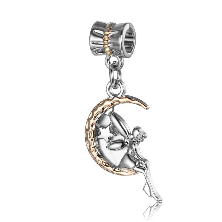 Pandora Charms Guardian Angel On Rose Gold Moon Dangle Sterling Silver