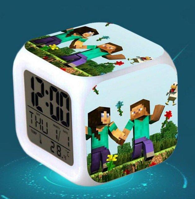 Minecraft Led Alarm Clock #07 Minecraft Cartoon Figures LED Alarm Clock