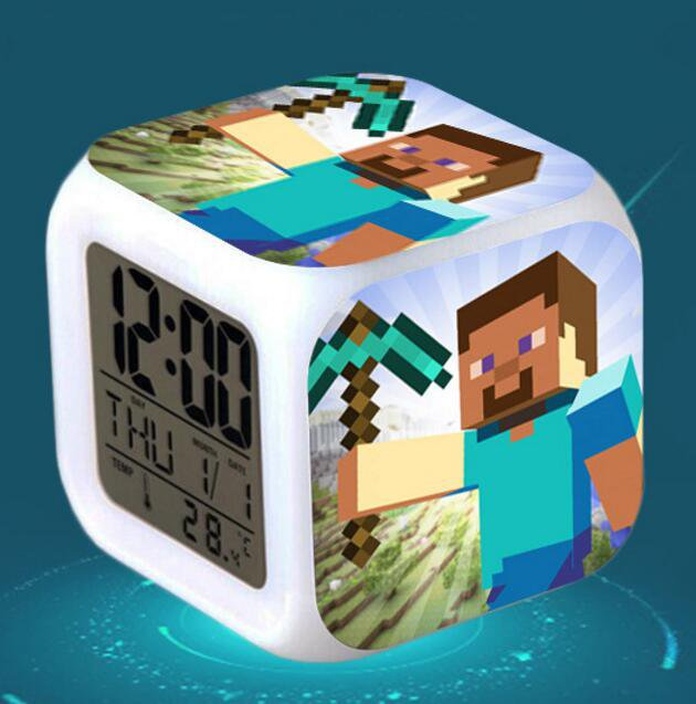 Minecraft Led Alarm Clock #09 Minecraft Cartoon Figures LED Alarm Clock