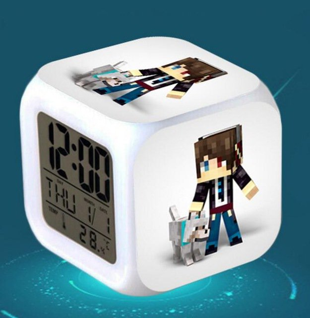 Minecraft Led Alarm Clock #23 Minecraft Cartoon Figures LED Alarm Clock