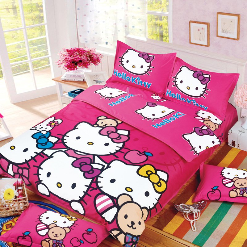 Full Size Hello Kitty #7 Bedding Set Duvet Cover Pillow Case Bedsheet