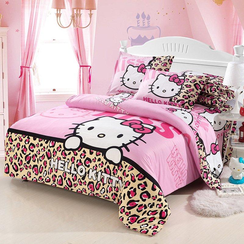 Full Size Hello Kitty #9 Bedding Set Duvet Cover Pillow Case Bedsheet