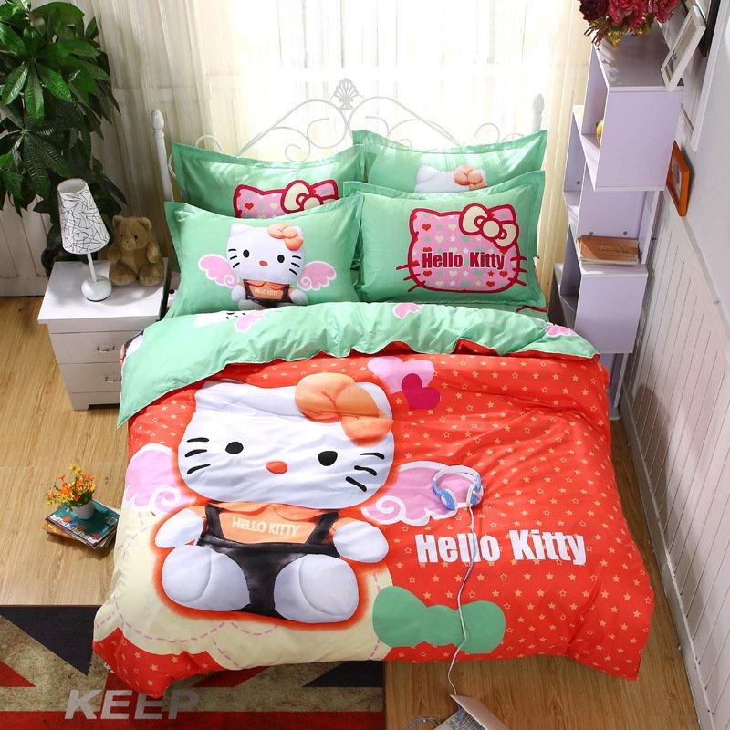 Full Size Hello Kitty #14 Bedding Set Duvet Cover Pillow Case Bedsheet