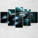 The Spaceship 5 Piece Wall Art Canvas Prints Size C (NO FRAME)
