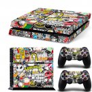 Bomb Graffiti New Design C Decal For Play Station 4 Slim Console + 2 Controller