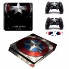 Captain America #01 Decal For Play Station 4  Slim Console + 2 Controller Free LED Light Bar