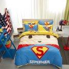 Twin Size Superman Cartoon #57 Bedding Set Quilt Cover Pillow Case Bedsheet