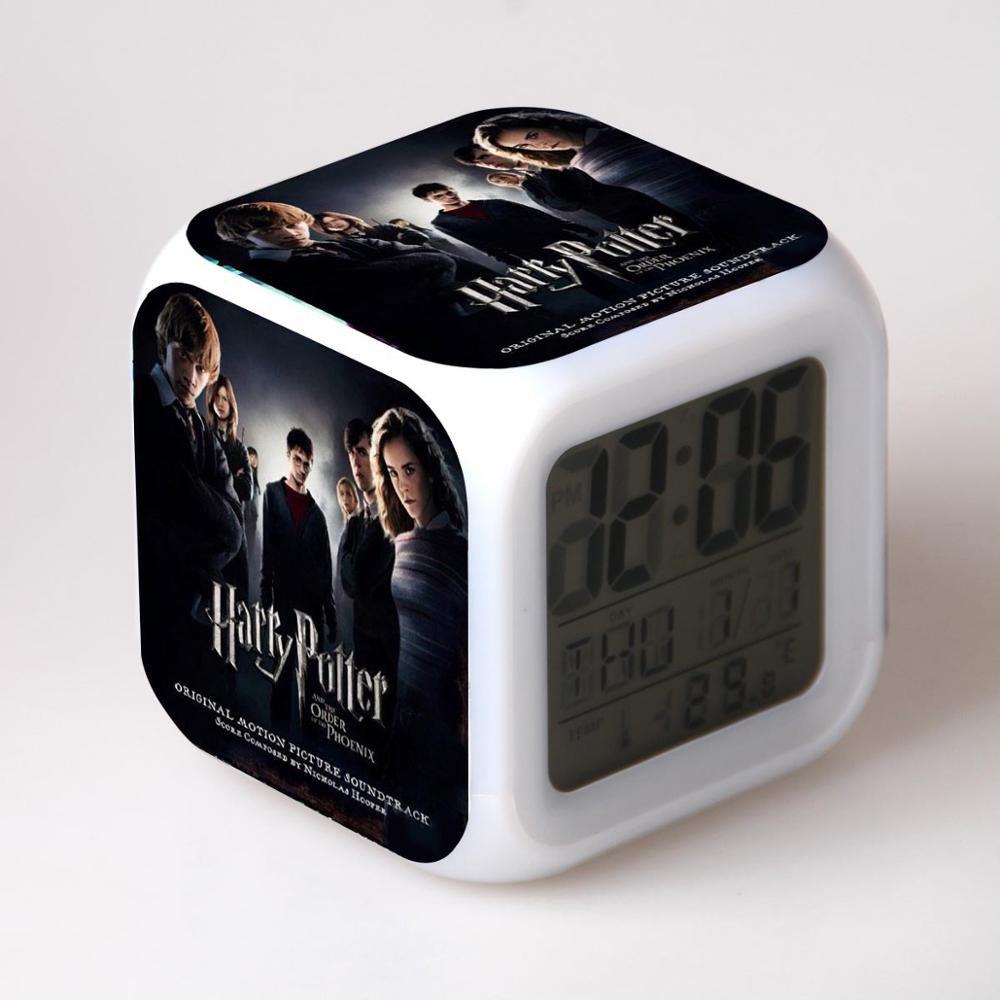 New Haryy Potter #13 Led Alarm Clock Figures 7 Color Flash Changing for Kids Bedroom
