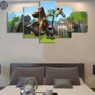 Minecraft 5 Piece Wall Art Canvas Prints (10x15cm,  10x20cm, 10x25cm) WITH FRAME