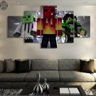 Minecraft 5 Piece Wall Art Canvas Prints (20x35cm,20x45cm,20x55cm) WITH FRAME