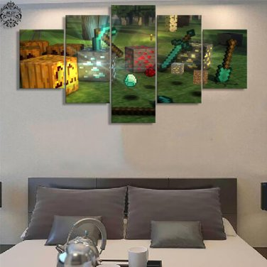 Minecraft 5 Piece Wall Art Canvas Prints 30x40cm30x60cm