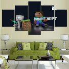 Minecraft 5 Piece Wall Art Canvas Prints (10x15cm,  10x20cm, 10x25cm) WITH FRAME