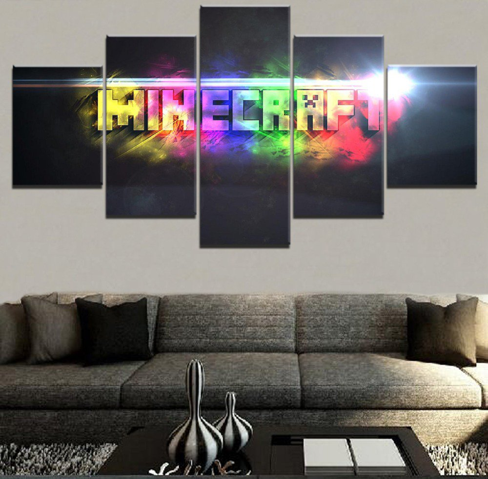 Minecraft 5 Piece Wall Art Canvas Prints (20x30cmx2,20x40cmx2,20x50cmx1) (no frame)