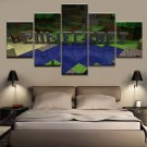 Minecraft 5 Piece Wall Art Canvas Prints (20x35cmx2,20x45cmx2,20x55cmx1) WITH FRAME