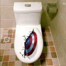 Captain America #01 Wall Sticker for Toilet Decor PVC Mural Posters