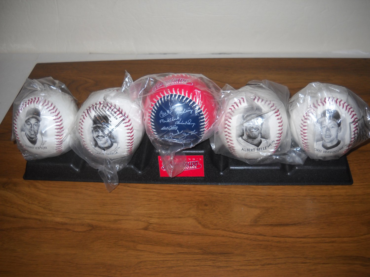Cleveland Indians 1996 Collectible Baseball Set - Set of Five with Stand