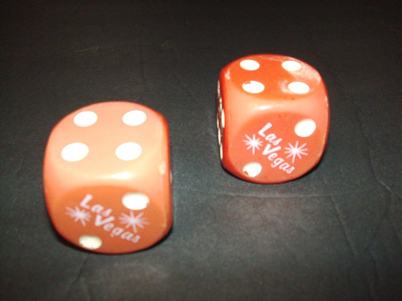 Six-Sided Dice --Las Vegas Logo-- Red / White -- One Pair