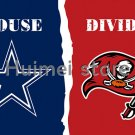 Dallas Cowboys VS Tampa Bay Buccaneers House Divided Team Outdoor Indoor Flag 3X5