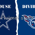 Dallas Cowboys VS Tennessee Titans House Divided Team Outdoor Indoor Flag 3X5 ft