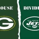 Green Bay Packers vs New York Jets House Divided Rivalry Flag 90x150cm