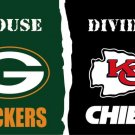 Green Bay Packers VS Kansas City Cheifs House Divided flags 3ftx5f