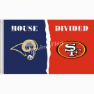 Los Angeles Rams vs san francisco 49ers House Divided Rivalry Flag 3ft x 5ft Polyester