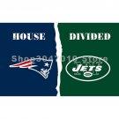 house divided flag 3x5ft New England Patriots flag vs banner New York Jets flag banner