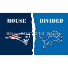 Outdoor Indoor Flag New England Patriots VS Detroit Lions House Divided 3X5  ft